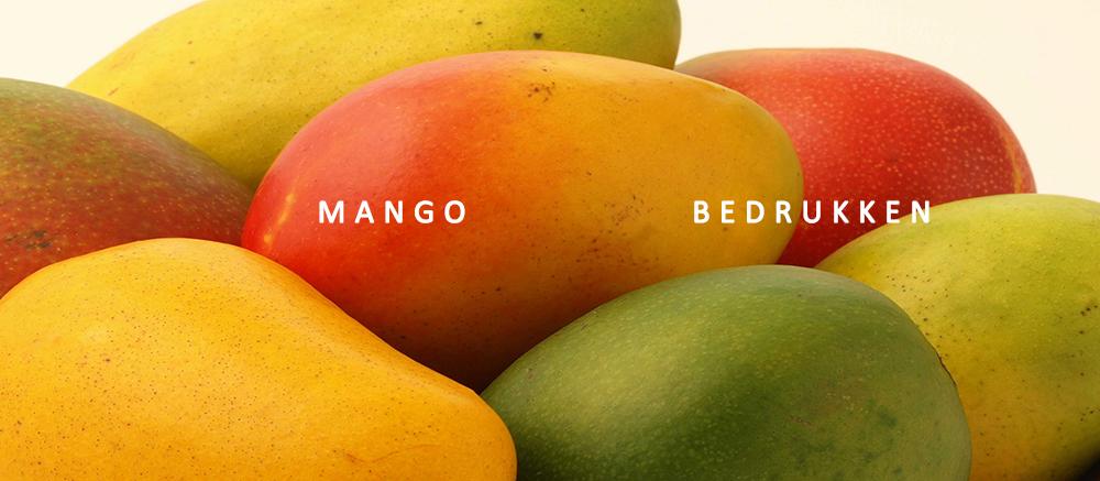 Mango bedrukken, fruit bedrukken, mango met logo