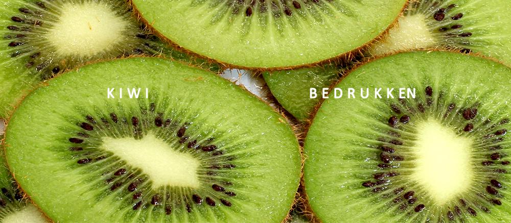 kiwi bedrukken, kiwi met logo, fruit bedrukken