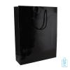 Gelamineerde geschenktas zwart bedrukken