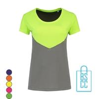 T-Shirt Dames Sport Duo bedrukken neongeel grijs