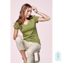 T-Shirt Dames V-Hals Biologisch bedrukken met naam, v-hals bedrukt, bedrukte v-hals met logo