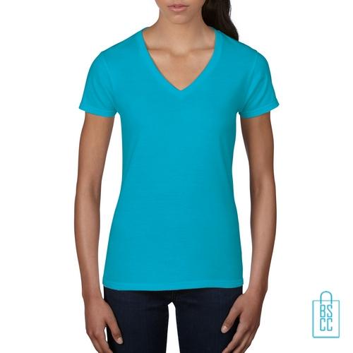 Bedrukken Hals Shirt Casual T Bedrukt Lichtblauw V Dames wq6tgAxXvg