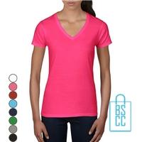 T-Shirt dames V-Hals casual bedrukken, v-hals bedrukt, bedrukte v-hals met logo