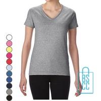 T-Shirt dames v-hals Tee bedrukken, v-hals bedrukt, bedrukte v-hals met logo