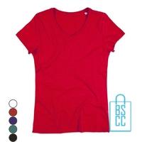 T-Shirt dames v-hals trendy bedrukken, v-hals bedrukt, bedrukte v-hals met logo
